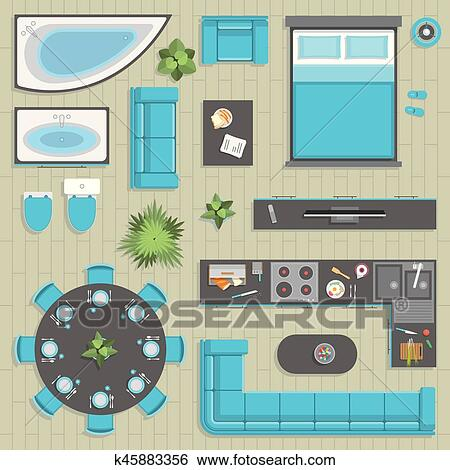 Furniture Elements In Top View Vector For Your Ideas