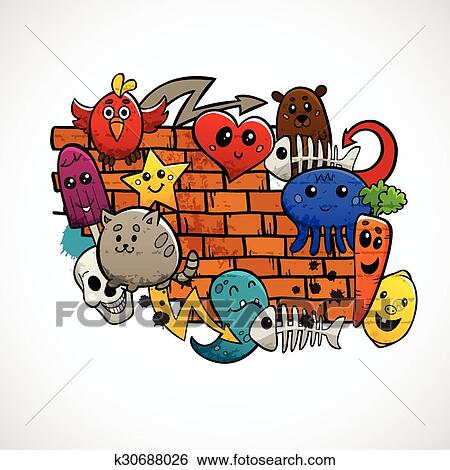 Graffiti Cartoon Animals Fruit And Abstract Characters Around Brick Wall Flat Color Concept Vector Illustration