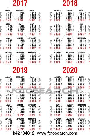 Clipart - ensemble, calendrier, 2017, 2018, 2019, 2020 ...