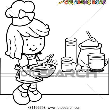 Clip Art - mädchen, kochende, färbung, seite k31166298 - Suche ...