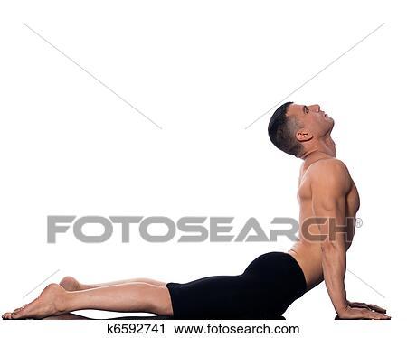 man yoga cobra pose sun salutation surya namaskar stock