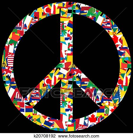 Clip Art Of Peace Symbol With World Flags K20708192 Search Clipart