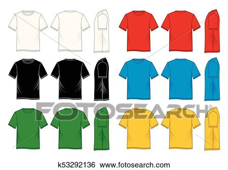 T Shirt Template Short Sleeve Front Back Side Colorful Vector Image Design