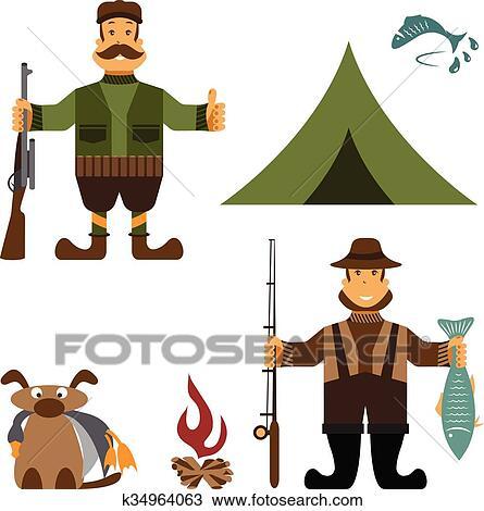 Apartamento Desenho Ilustracao Com Pescador E Cacador Icons