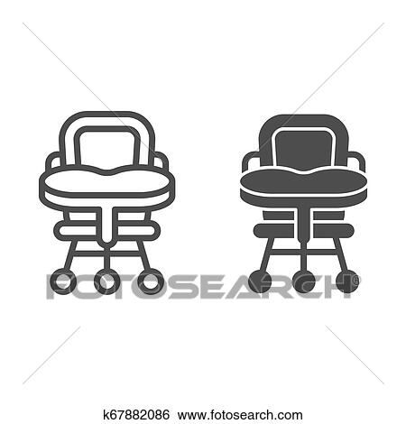 Baby Chair Line And Glyph Icon High Chair Vector Illustration
