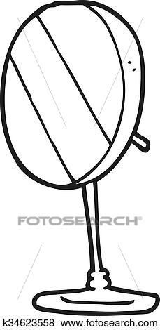 Clip Art Of Black And White Cartoon Bathroom Mirror K34623558