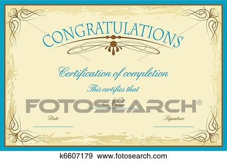Clip Art Of Certificate Template K6607179 Search Clipart
