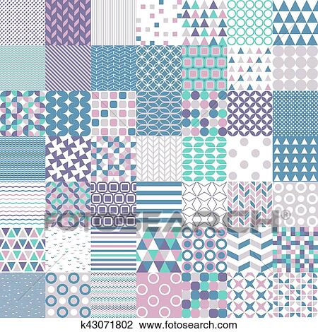 Clipart - cincuenta, simple, formas, seamless, patrones k43071802 ...