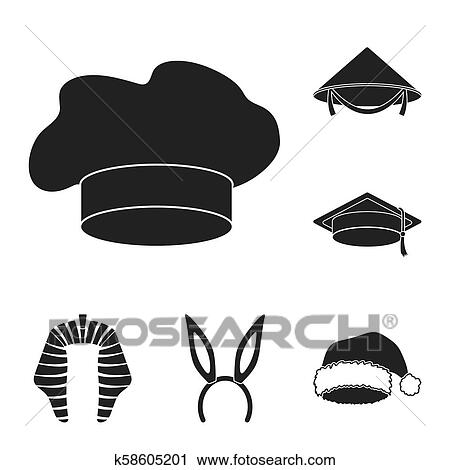 1a5829b5fa31b Different kinds of hats black icons in set collection for design.Headdress  bitmap symbol stock illustration.