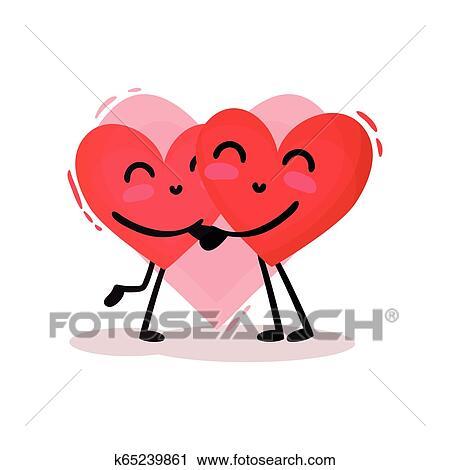 Dois Abracando Vermelho Hearts Adoravel Par Em Love Dia
