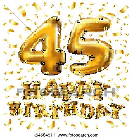 Auguri Buon Compleanno 45.Dorato Numero 45 Quaranta Cinque Metallico Balloon Decorazione Parte Dorato Balloons Anniversario Segno Per Felice Vacanza