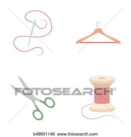 Fil Bobine Cintre Aiguille Scissors Atelier Ensemble Collection Icônes Dans Dessin Animé Style Raster Symbole Illustration Courante
