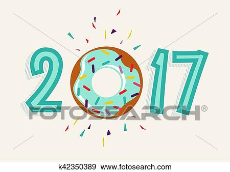 Clip Art of Happy New Year 2017 donut food greeting card k42350389 ...