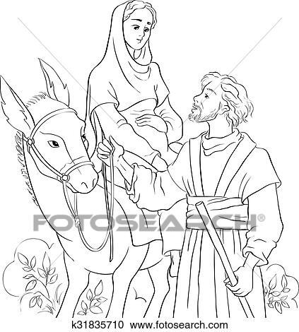 Clipart - maría, y, joseph, el viajar cerca, burro, a, bethlehem ...