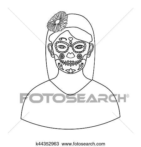 Dibujo Mexicano Mujer Con Calavera Componer Icono En