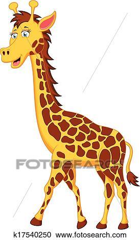 Dessin Girafe Rigolote clipart - rigolote, girafe, dessin animé, caractère k17540250
