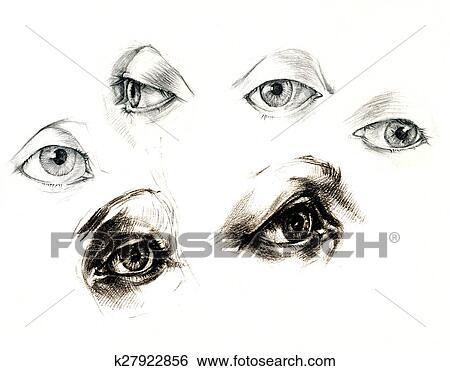 Um Mao Desenho Olhos Arquivo Fotograficos K27922856