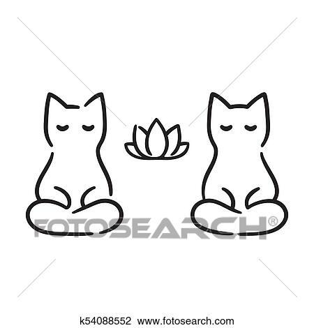 Zen Gatos Desenho Clipart K54088552 Fotosearch