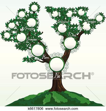 árbol Genealógico Con Lugar Para Fotos O Nombres Vector Ilustración Clip Art