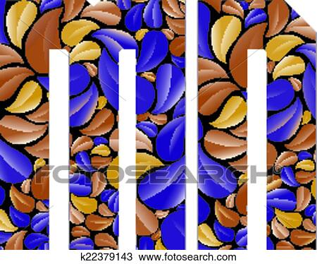 Clipart Of Beautiful Floral Alphabet Letters M And N K22379143