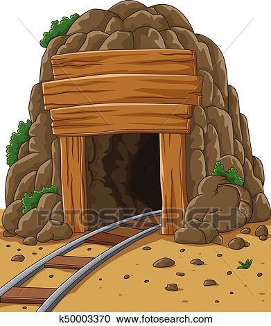 Clipart of Cartoon mine entrance k50003370 - Search Clip Art, Illustration Murals ...