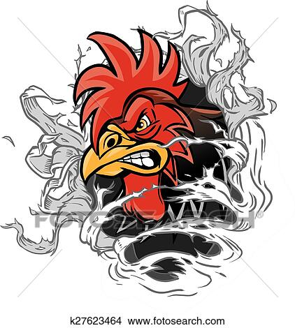 clipart of cartoon rooster mascot ripping out k27623464 search