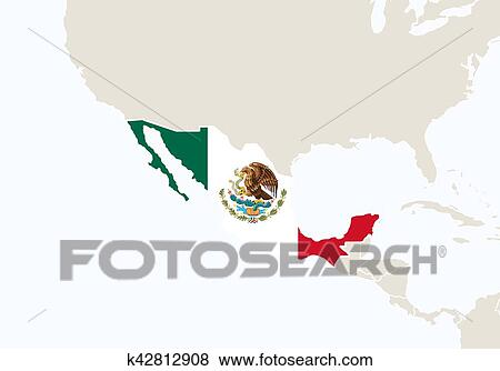Clip Art of Central America with highlighted Mexico map. k42812908 ...