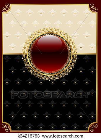 Dibujo - dorado, vendimia, marco, con, floral, medallón k34216763 ...