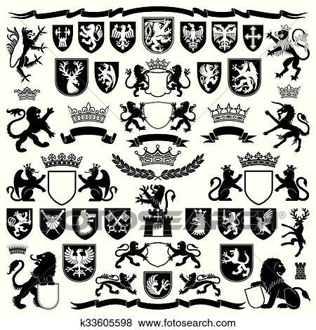 Heraldry Symbols And Elements Clip Art