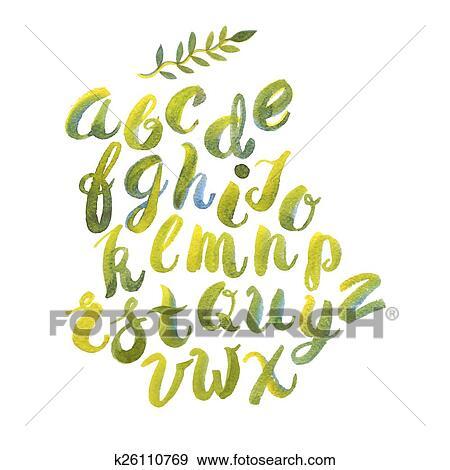 Clip Art - mano, dibujado, acuarela, alfabeto, hecho, con, brush ...