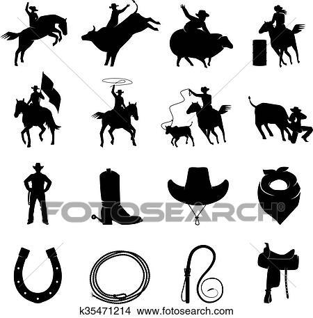 Clipart of Rodeo Black Icons Set k35471214 - Search Clip Art ... 8e0090596d6