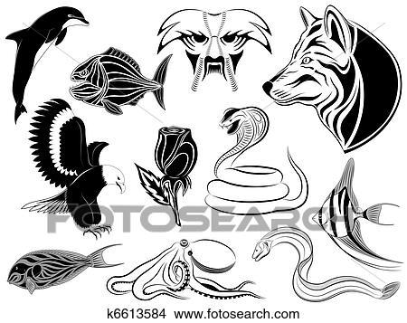 Vector Line Art Animals : Clipart of set various tattoos k search clip art