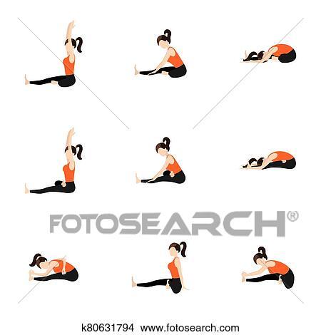 頭 へ 膝 変化 ヨガ asanas セット クリップアート(切り張り)イラスト「絵画」集