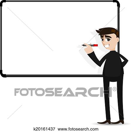 clip art of cartoon businessman writing whiteboard k20161437 rh fotosearch com businessman clipart vector businessman thinking clipart