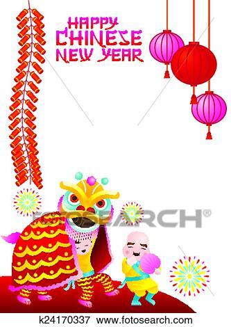Clip Art - chinesisches neues jahr, rahmen, löwe, tanz k24170337 ...