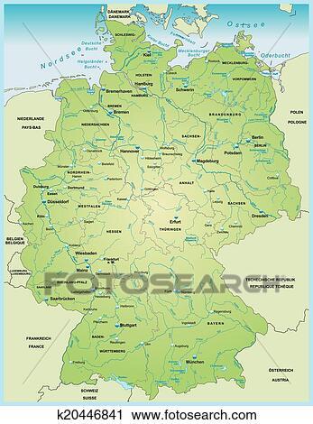 Deutschlandkarte Mit Wasser Vernetzung Clipart K20446841