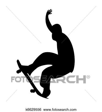 Clipart Illustration De Noir Silhouette Skateboard Homme