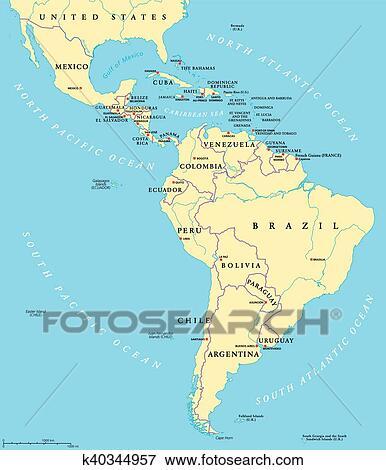 Latin America political map Clip Art | k40344957 | Fotosearch