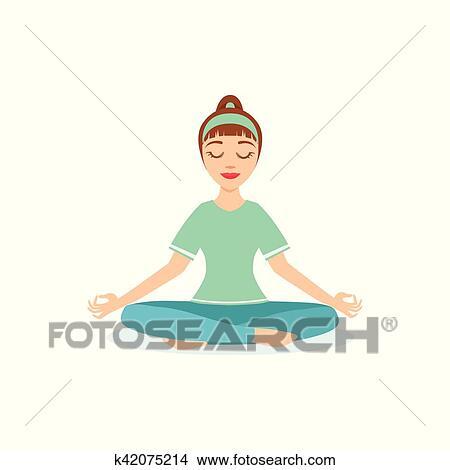 Clipart Lotus Padmasana Pose Yoga Demontre Par Les Girl