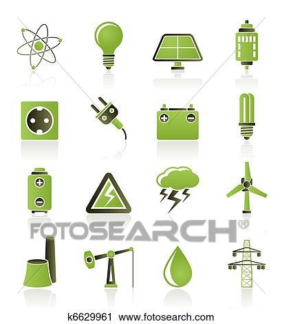 Clipart - macht, und, elektrizität, industrie, symbol k6629961 ...