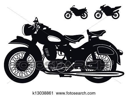 old motorcycle clipart  Clipart of old motorcycle k13038861 - Search Clip Art, Illustration ...