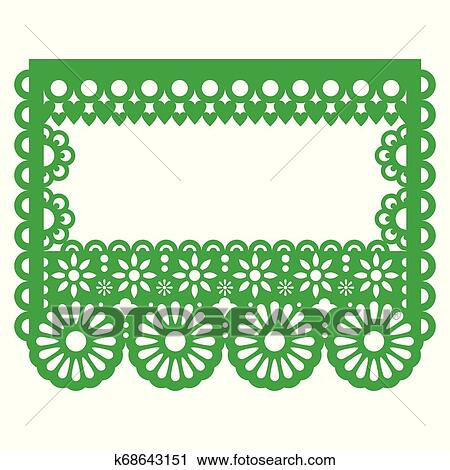 Papel Picado Mexican Paper Decoration Vector Template Design Greeting Card Or Invitation Green Background With Flowers Hearts And Abstract