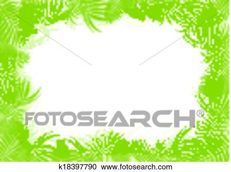 clipart of tropical jungle rain forest vector background blank frame