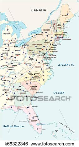 Vector map of the East Coast, United States Clip Art ...
