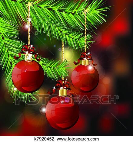 Clipart Zweige Mit Weihnachtsdeko K7920452 Suche Clip Art