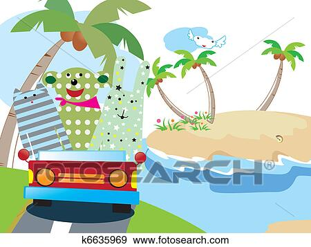 Clip Art Of Animals Vacation Time K6635969
