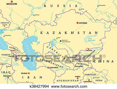 Caucasus and Central Asia Political Clipart | k38427994 ...