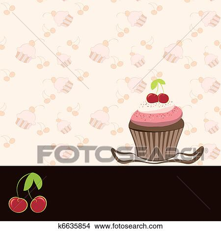 clipart of cherry cupcake invitation card k6635854 search clip art