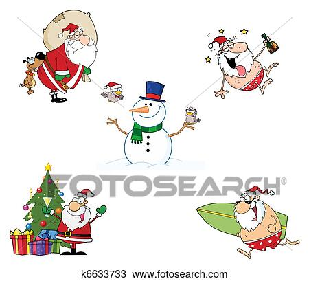Clipart Of Christmas Cartoon Characters K6633733 Search Clip Art