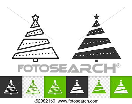 Christmas Tree Simple Fir Black Line Vector Icon Clip Art